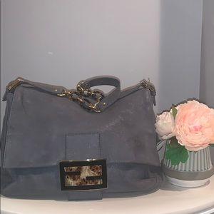 Fendi mama forever grey suede shoulder bag